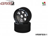Hot-Race-Tyres HR08FB30-1 Pair of Front Tyres 1:8 Shore 30 on Black Rims 1-Pack