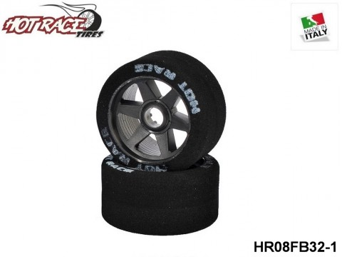 HOTRACE TYRES HR08FB32 1:8 Shore 32 Front Tyres 1:8 Shore 32 on Black Rims - 1-Pack