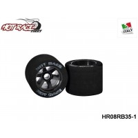 HOTRACE TYRES HR08RB35 1:8 Shore 35 Rear Tyres 1:8 Shore 35 on Black Rims - 1-Pack