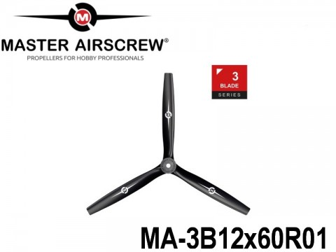 1160 MA-3B12x60R01 Master Airscrew Multi Rotor Propellers Only 3-Blade 12-inch x 6-inch - 304.8mm x 152.4mm Rev.-Pusher