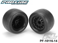Protoform PF-10116-14 Prime 2.8 street Tires Mounted on F-11 Black Wheels 2 for JATO®, Nitro Stampede®-Rustler® Rear or Electric Stampede®-Rustler® Front and PRO-MT, Stampede® 4X4 Front and Rear