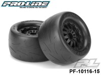 Protoform PF-10116-15 Prime 2.8 street Tires Mounted on F-11 Black Rear Wheels 2 for Electric Stampede®-Rustler® Rear