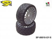 SP Racing Tires SP-00010-GY-5 1:8 Rally Games Compound Rear Sport Multispoke Grey 17mm 2pcs SOFT