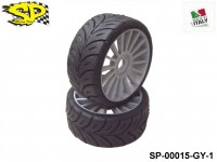 SP Racing Tires SP-00015-GY-1 1:8 Rally Games Compound Front Sport Multispoke Grey 17mm 2pcs HARD