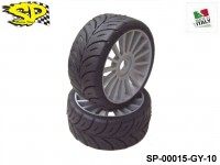 SP Racing Tires SP-00015-GY-10 1:8 Rally Games Compound Front Sport Multispoke Grey 17mm 2pcs HARD