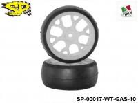 SP Racing Tires SP-00017-WT-GAS-10 1-10 Slick 26mm Sport Compound Rear 6-Spoke White Wheel 2pcs