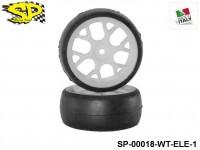 SP Racing Tires SP-00018-WT-ELE-1 1-10 Slick 26mm Sport Compound Front 6-Spoke White Wheel 2pcs